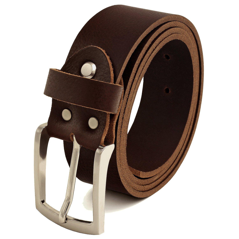 Fa.Volmer Herren Ledergürtel aus Büffelleder, 38mm breit und ca. 3-4mm stark, kürzbar dunkel-braun #GBr40Narb