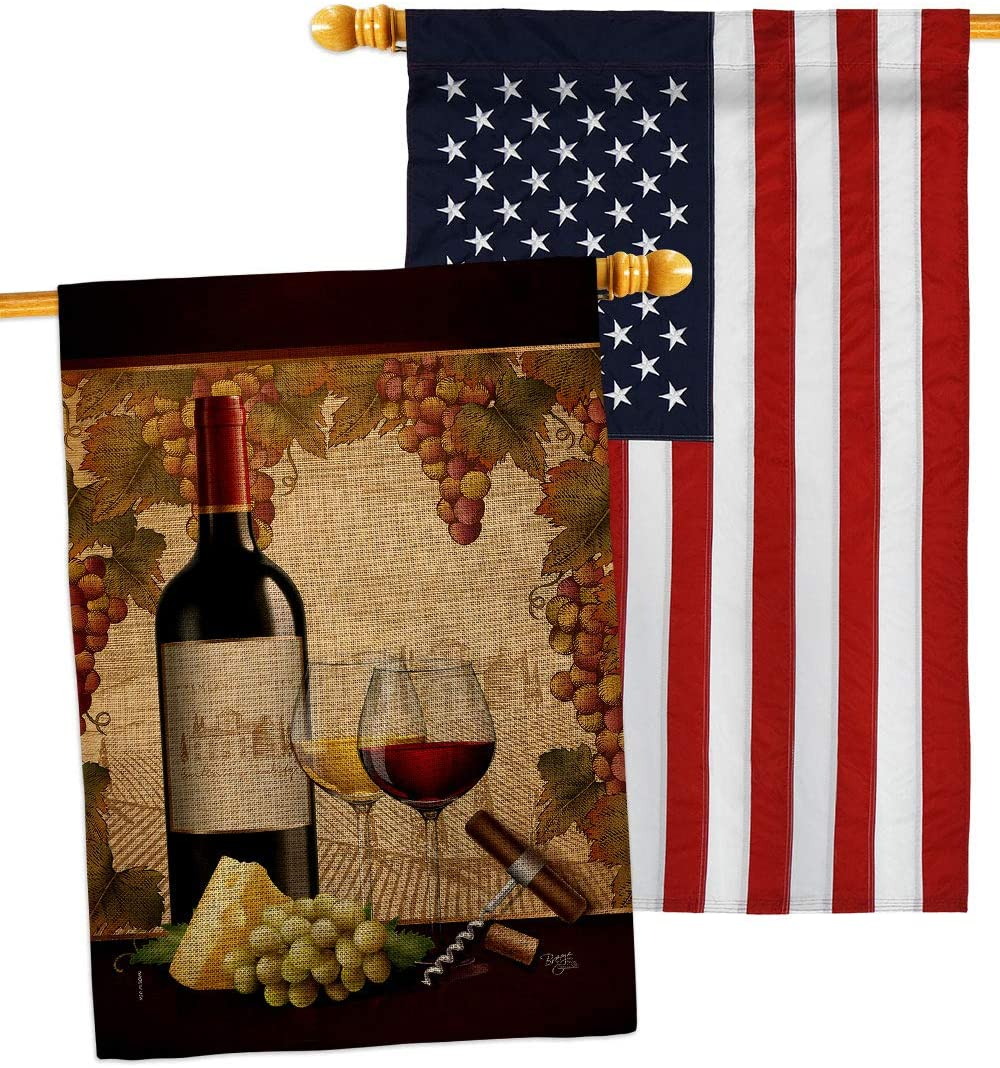 Breeze Decor Winery Burlap House Flag Pack Beverages Wine Drink Fruits Cheese Sangria White Red Rose Dessert Sparkling Embroidery Decoration Banner Small Garden Yard Gift Double-Sided, Made in USA