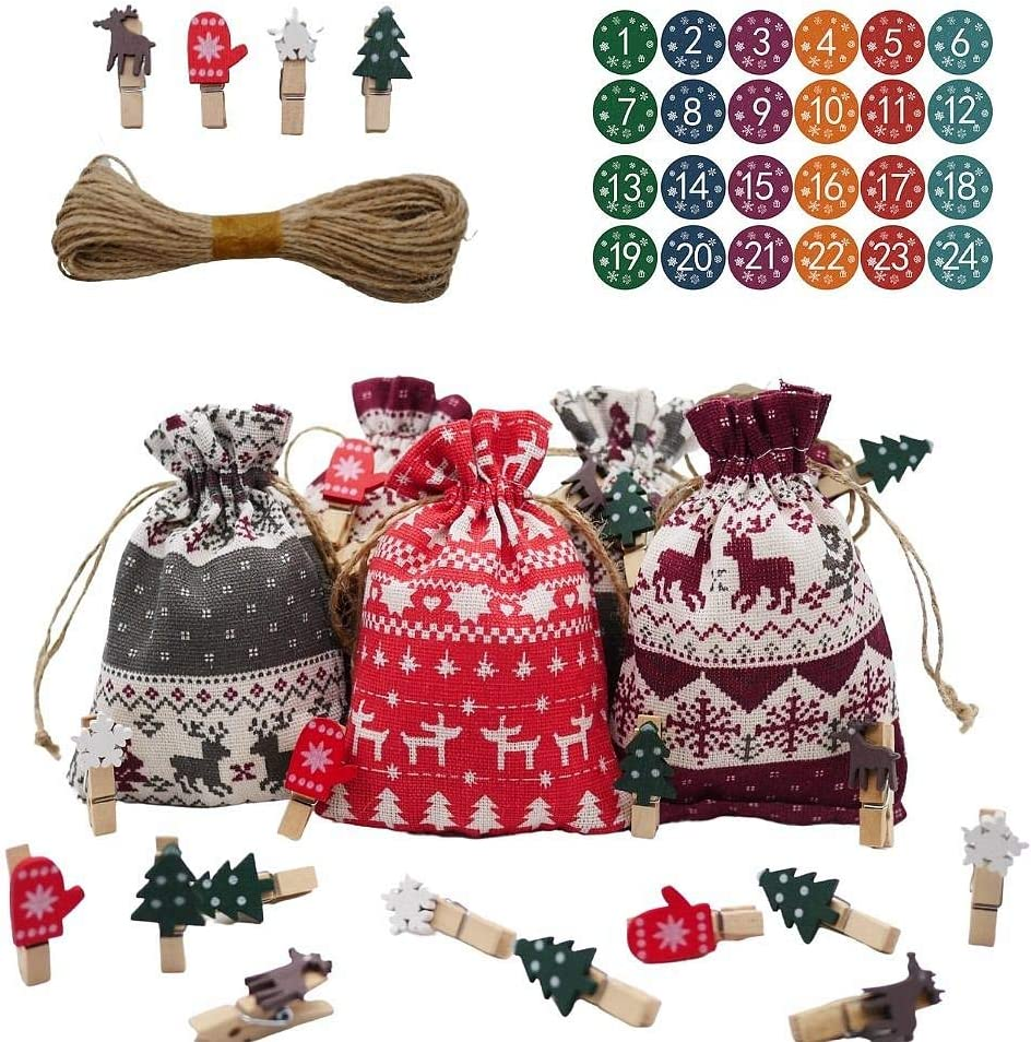 Advent Bags Christmas Advent Calendar 2020 Kids, 24 Days Reusable Countdown Gift for Girls Boys Dogs Adult, DIY Candy Fillable Burlap Bags for Holiday Xmas, Office Farmhouse Fireplace Decor