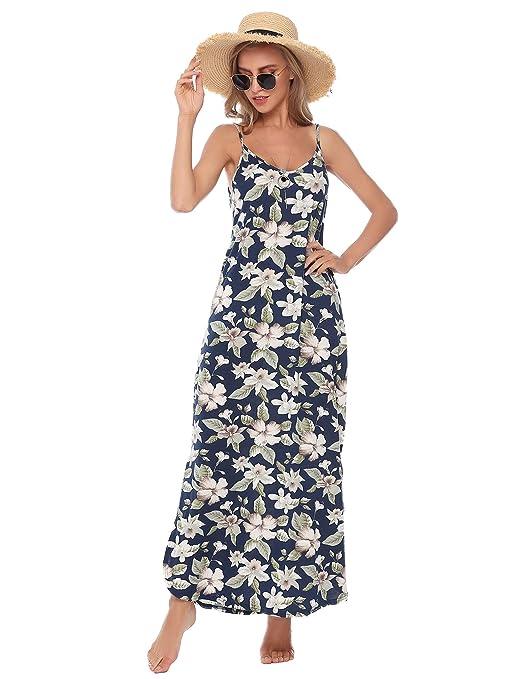 Aibrou Damen Einfarbige/Bedruckte Freizeitkleid Ärmellose Lange Strandkleid mit seitlicher Tasche