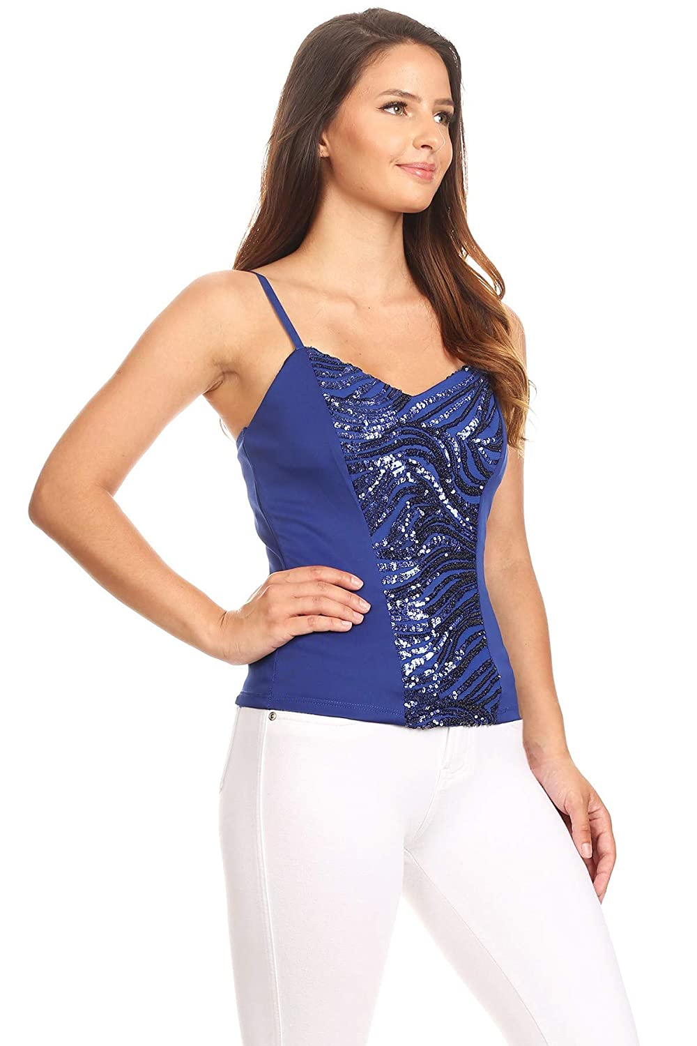Fashion Wildcat Spaghetti Strap Wavy Sequined Scuba Top