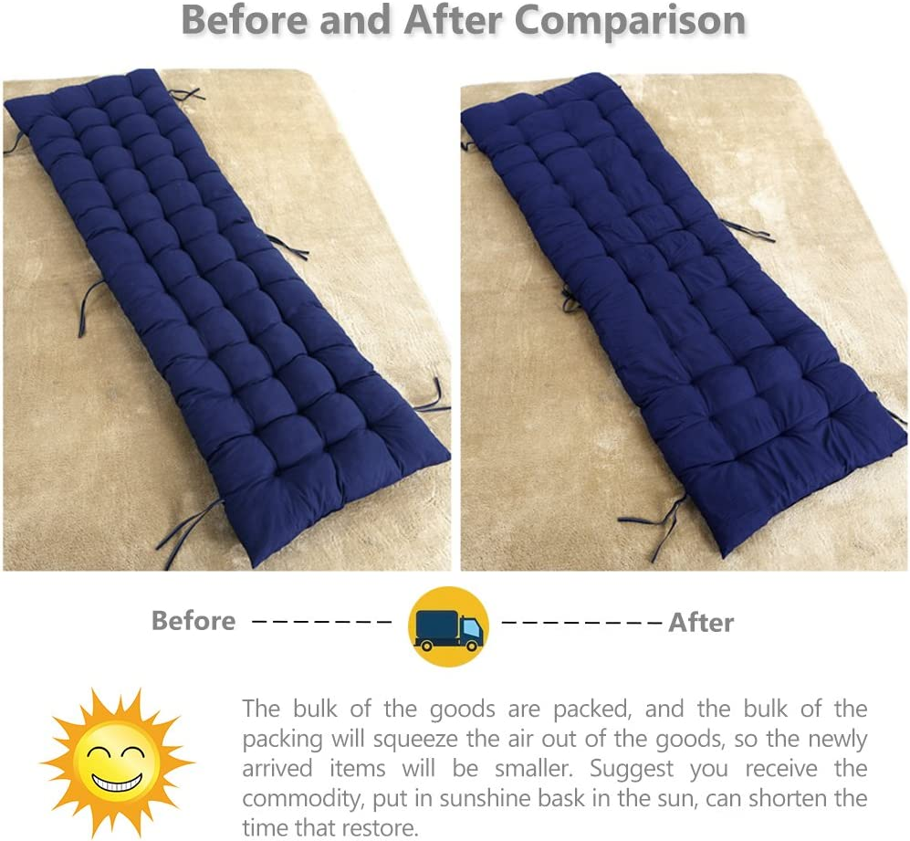 48 * 160CM Sun Lounger Cushions,Thicken Relax Rocking Chair Cushion,Portable Garden Patio Thick Padded Bed Recliner Relaxer Chair Seat Cover,for Travel//Holiday//Indoor//Outdoor Khaki