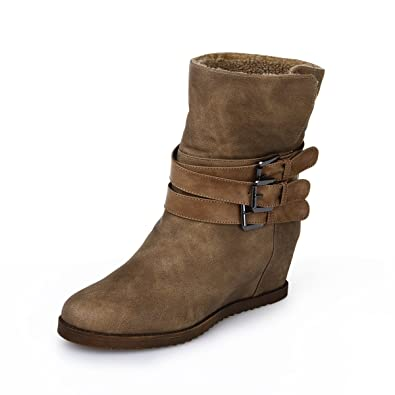 Women and Girls' Inside Wedges Triple Buckles Ankle Winter Boots