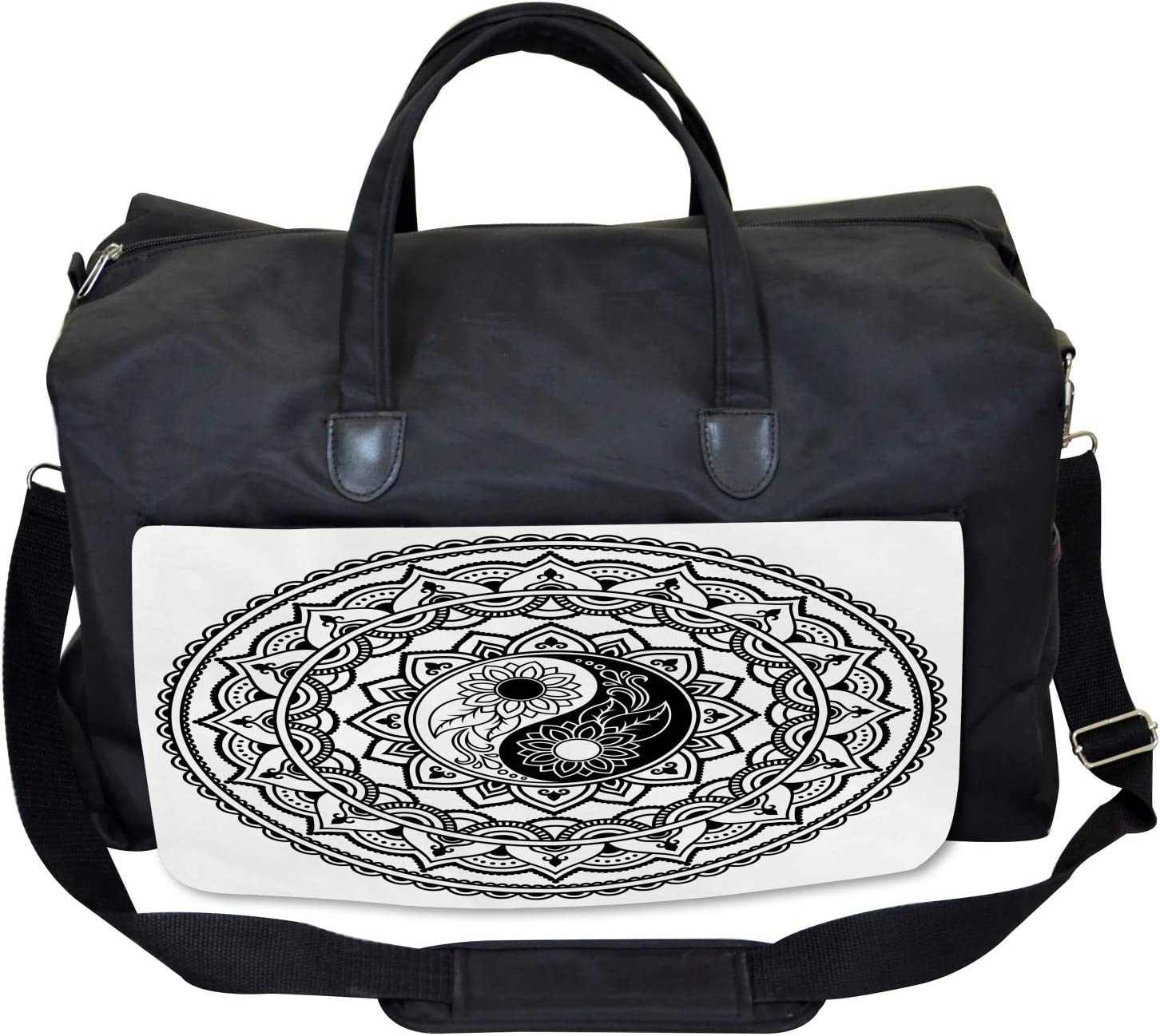 Ambesonne Tribal Gym Bag Eastern Blossom Yin Yang Large Weekender Carry-on