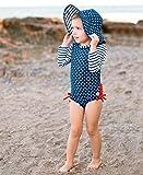 RuffleButts Baby/Toddler Girls Navy Polka Dot One