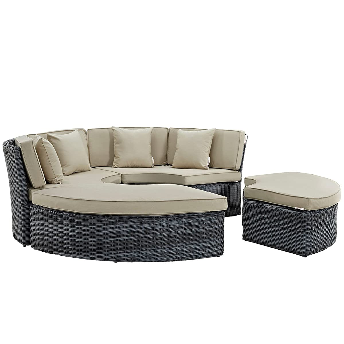 Modern Contemporary Urban Design Outdoor Patio Balcony Round Daybed Sofa, Beige, Rattan