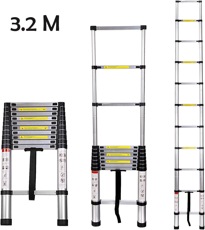 Buyi-World Telescopic Ladder 3.2 M Aluminium Extendable up to 150 ...