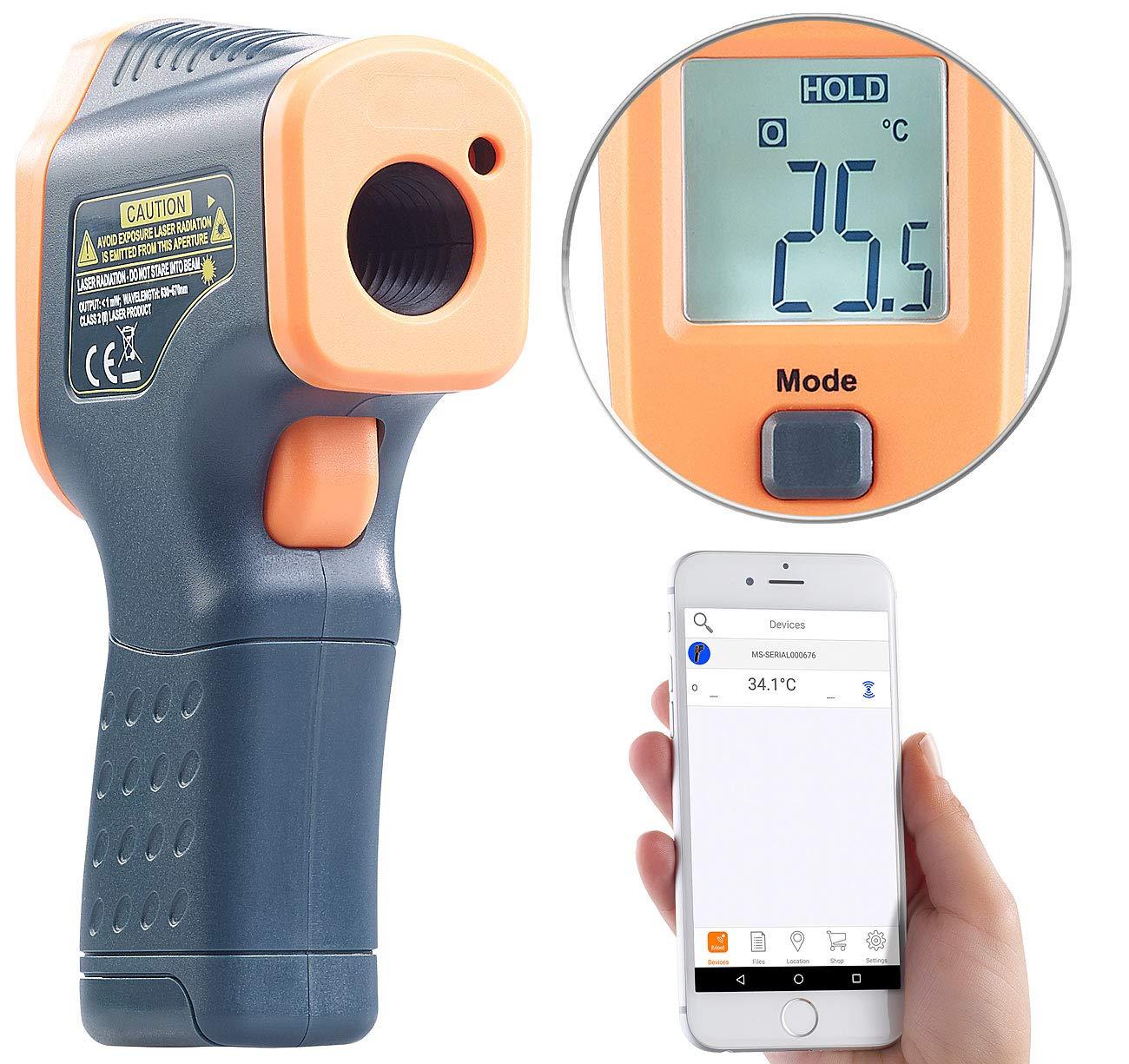 AGT Thermom/ètre infrarouge professionnel avec bluetooth et pointeur laser