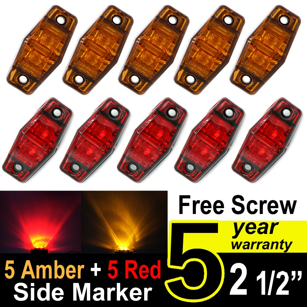 Tmh 2.5-Inch 5 Amber Lens and 5 Red Lens Side Marker LED Indicator