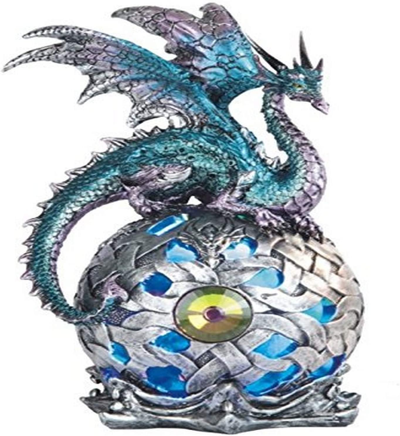 George S. Chen Imports StealStreet SS-G-71512 Dragon on Light Up LED Orb Statue Display, 8.25
