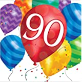 Creative Converting 32 Count 90th Birthday Balloon Blast Lunch Napkins Multicolor Value Pack