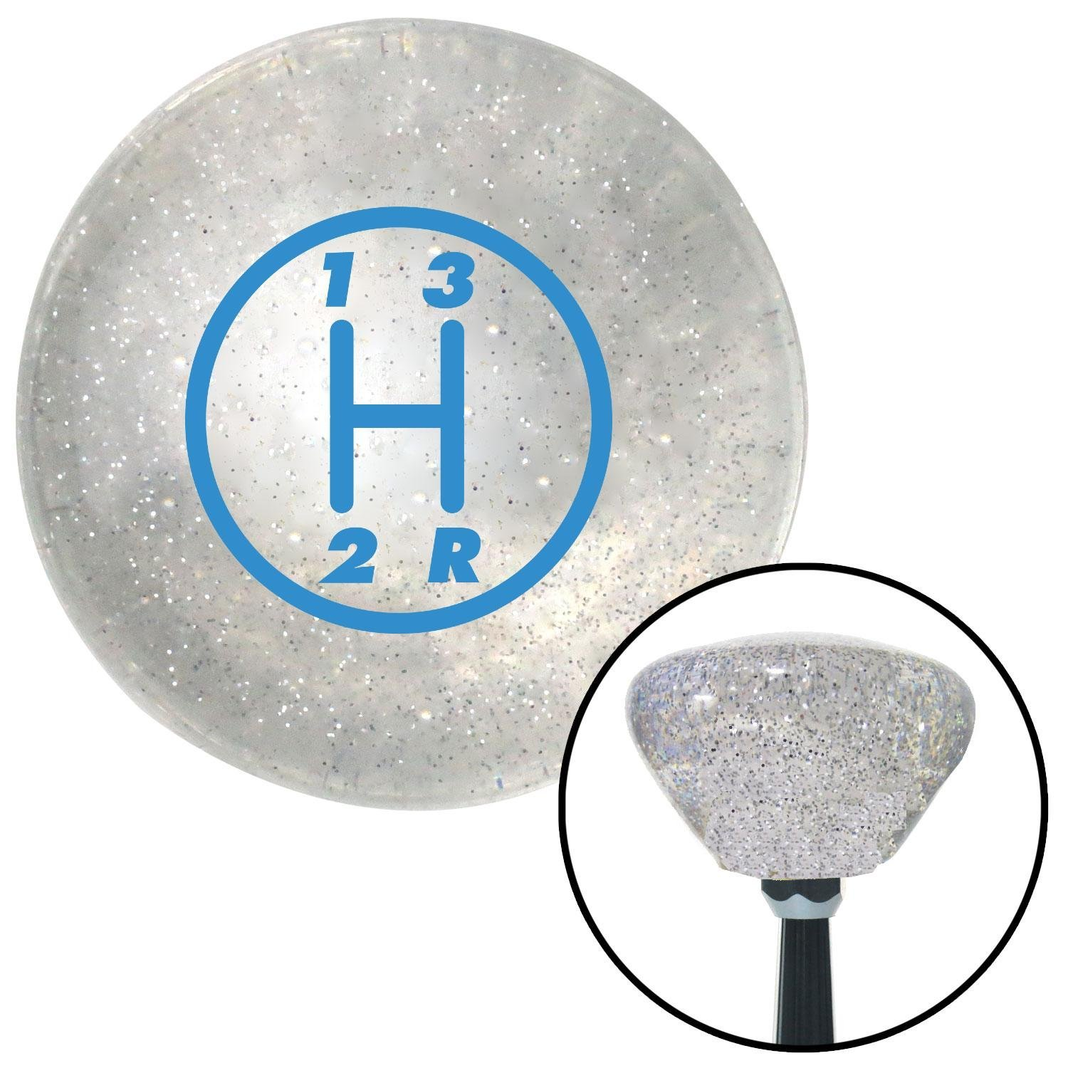 American Shifter 159382 Clear Retro Metal Flake Shift Knob with M16 x 1.5 Insert Blue 3 Speed
