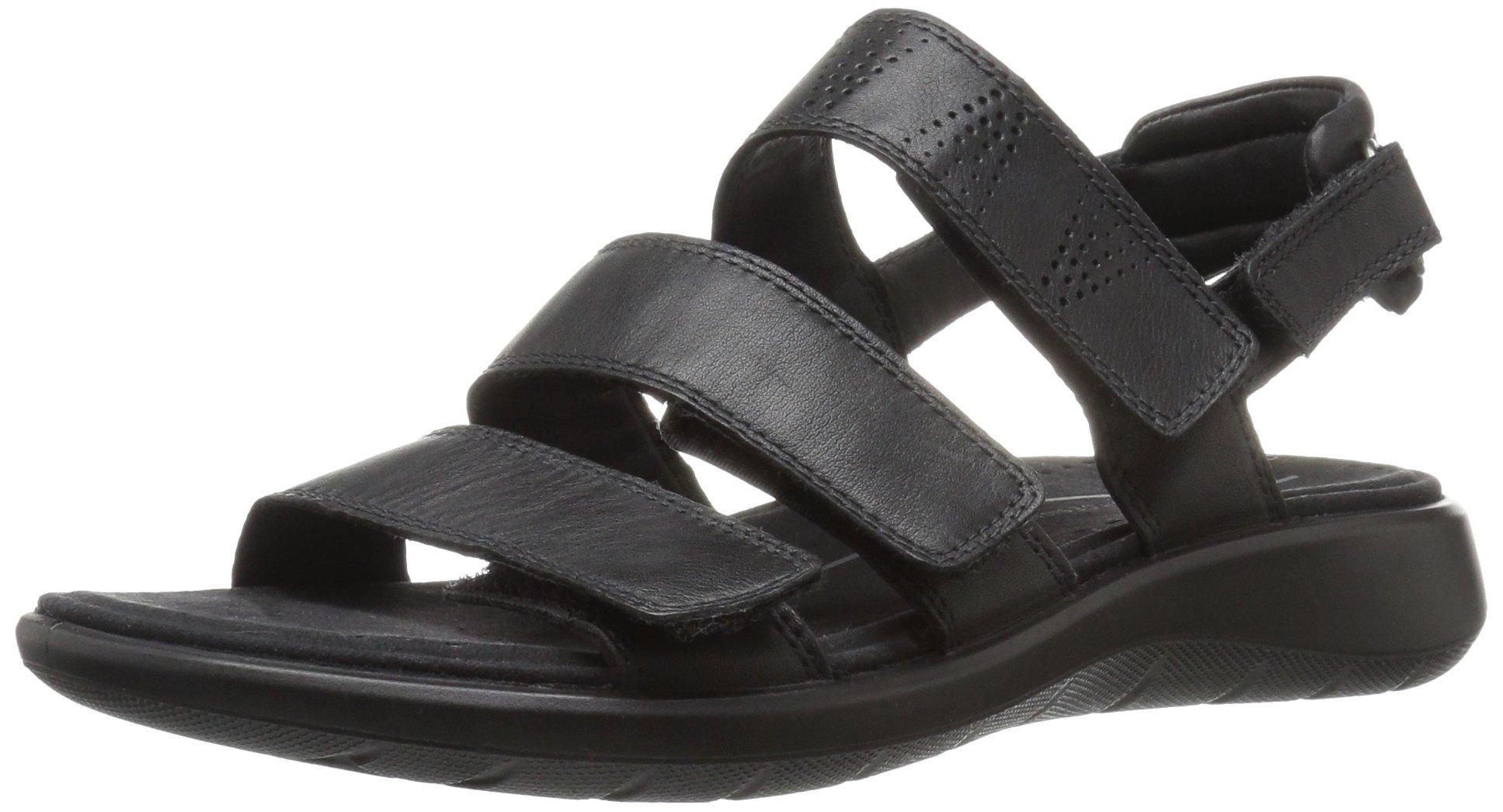 ECCO Women's Women's Soft 5 3-Strap Flat Sandal, Black, 40 EU/9-9.5 M US