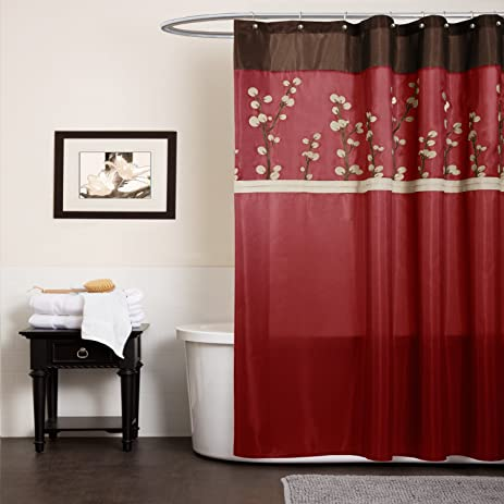 Lush Decor Cocoa Flower Shower Curtain, 72 Inch By 72 Inch, Red