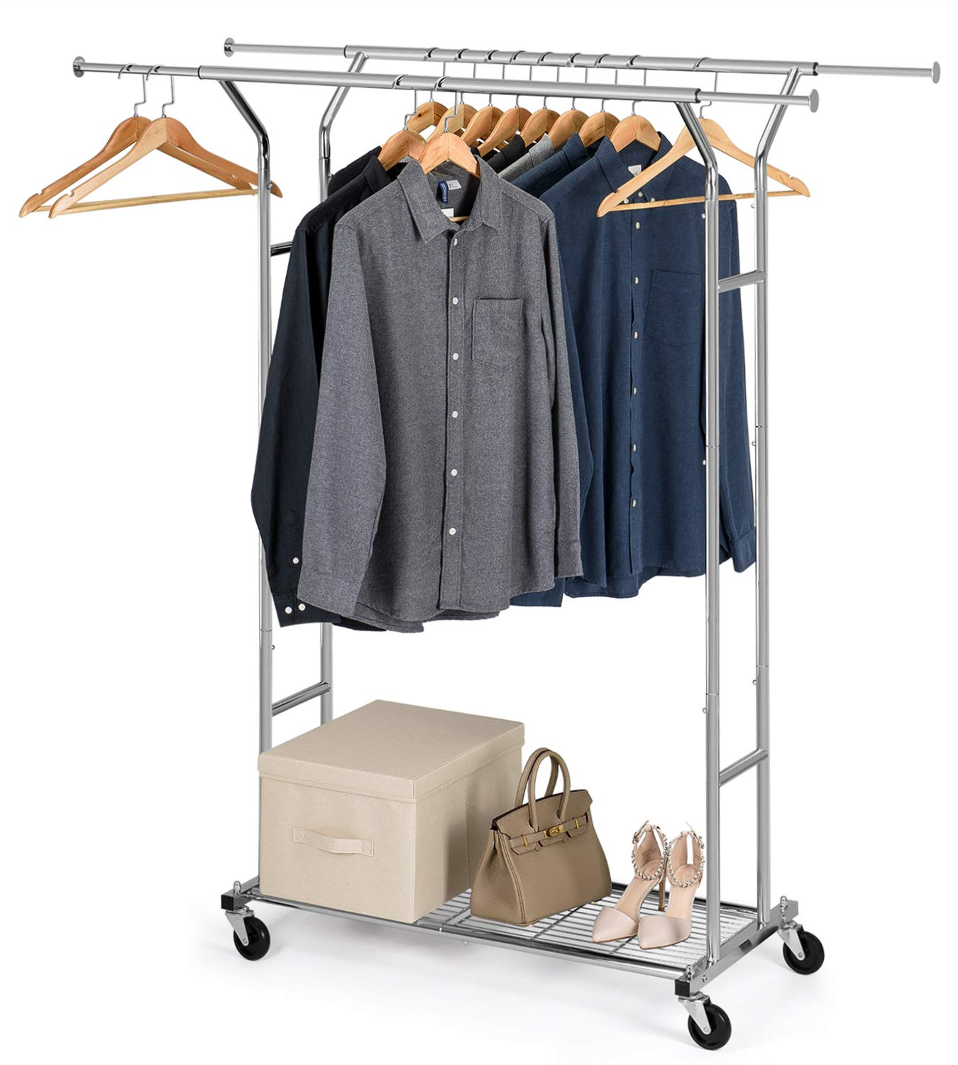 Bextsware Clothes Garment Rack On Wheels, Expandable Double Rails Heavy Duty Commercial Grade Hanging Clothes Organizer Stand Clothing Rack with Mesh Bottom Shelves for Boxes Shoes Storage, Chrome by Bextsware