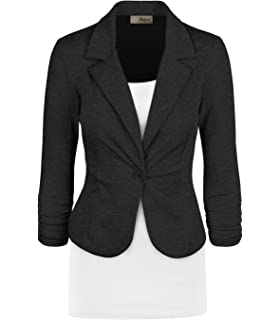 8cef7b6ff3506 SEBOWEL Women s Formal Two Button Slim Fitted Office Work Blazers ...