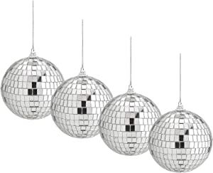 4 Pieces Mirror Disco Ball, Uspacific 4 Incn Silver Hanging Party Disco Ball for Party or DJ Light Effect, Home Decorations, Stage Props, Game Accessories