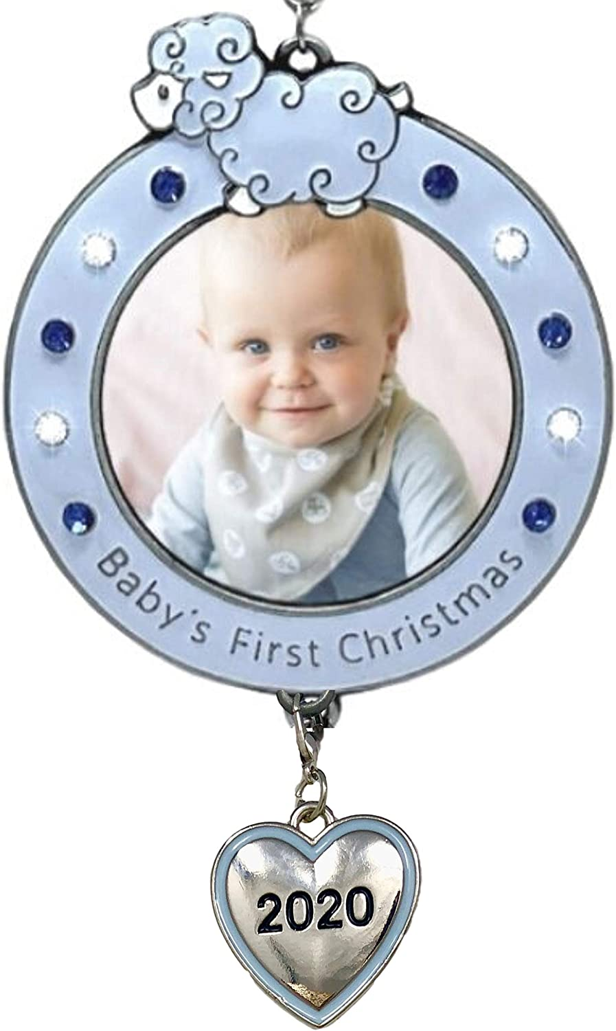 Baby Boy's First Christmas 2020 Dated Frame - Picture Ornament