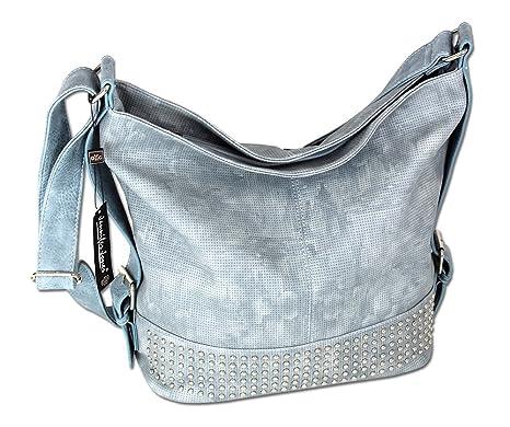 f4cb8f895b4c1 Damen Schultertasche Handtasche XL Umhängetasche 3122 (Eisblau ...