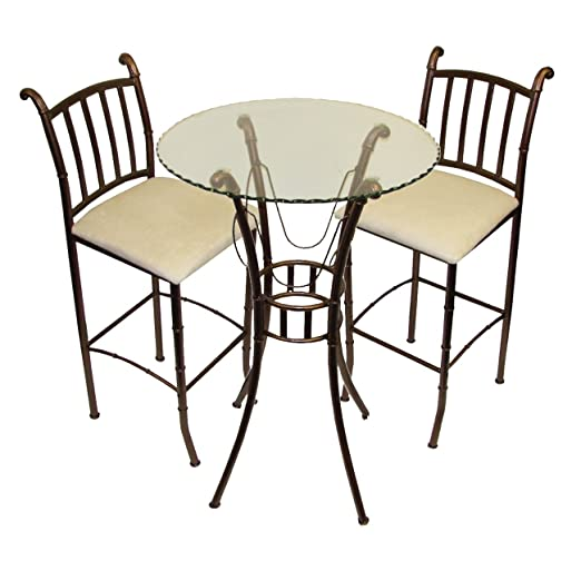amazoncom home source industries italian bistro 3piece pub set with glass table and 2 stools kitchen u0026 dining
