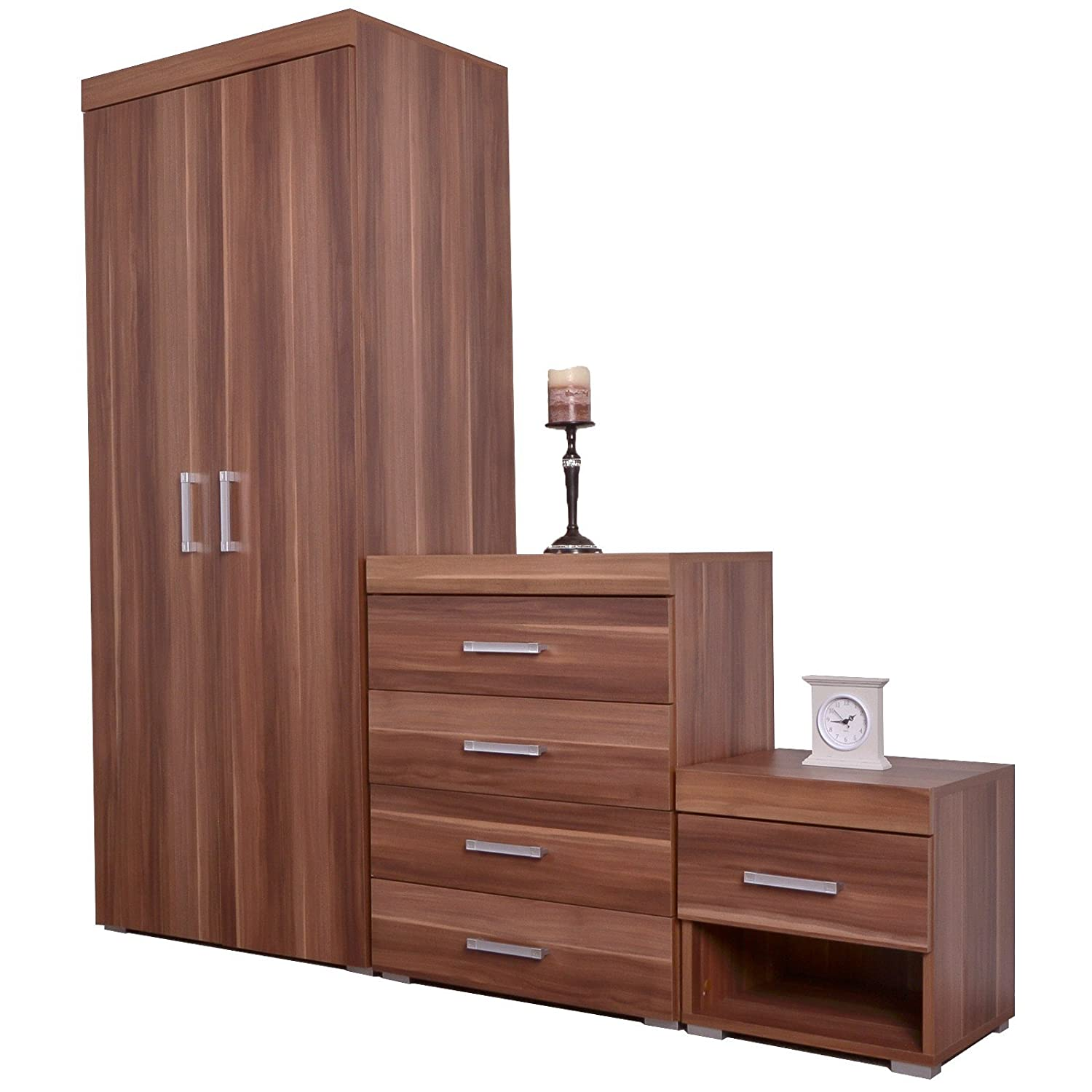 DP Bedroom Furniture 3 Piece Set Chest Drawers Bedside Table & Wardrobe Walnut