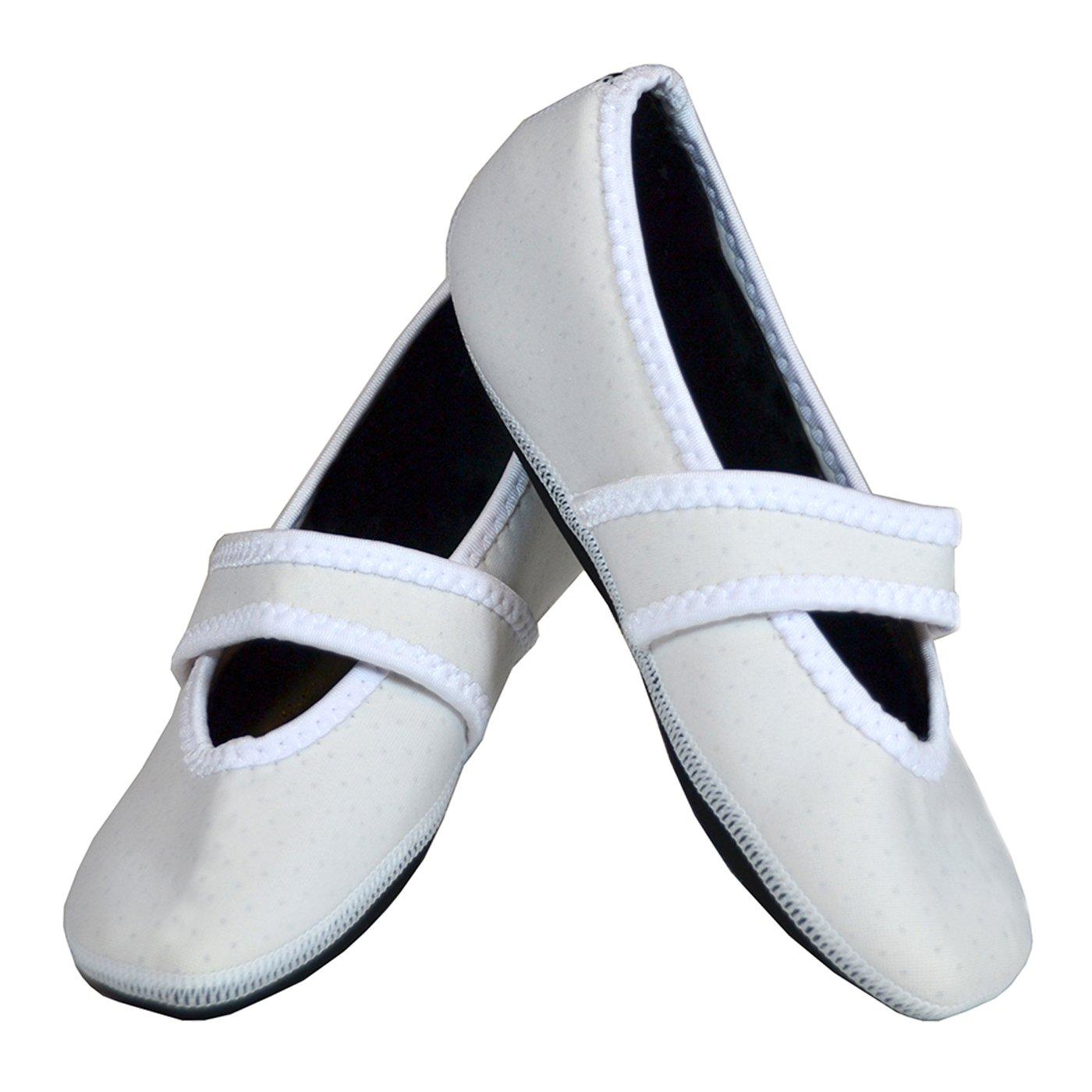 Nufoot Betsy Lou Women's Shoes, Best Foldable & Flexible Flats, Slipper Socks, Travel Slippers & Exercise Shoes, Dance Shoes, Yoga Socks, House Shoes, Indoor Slippers, White, X-Large