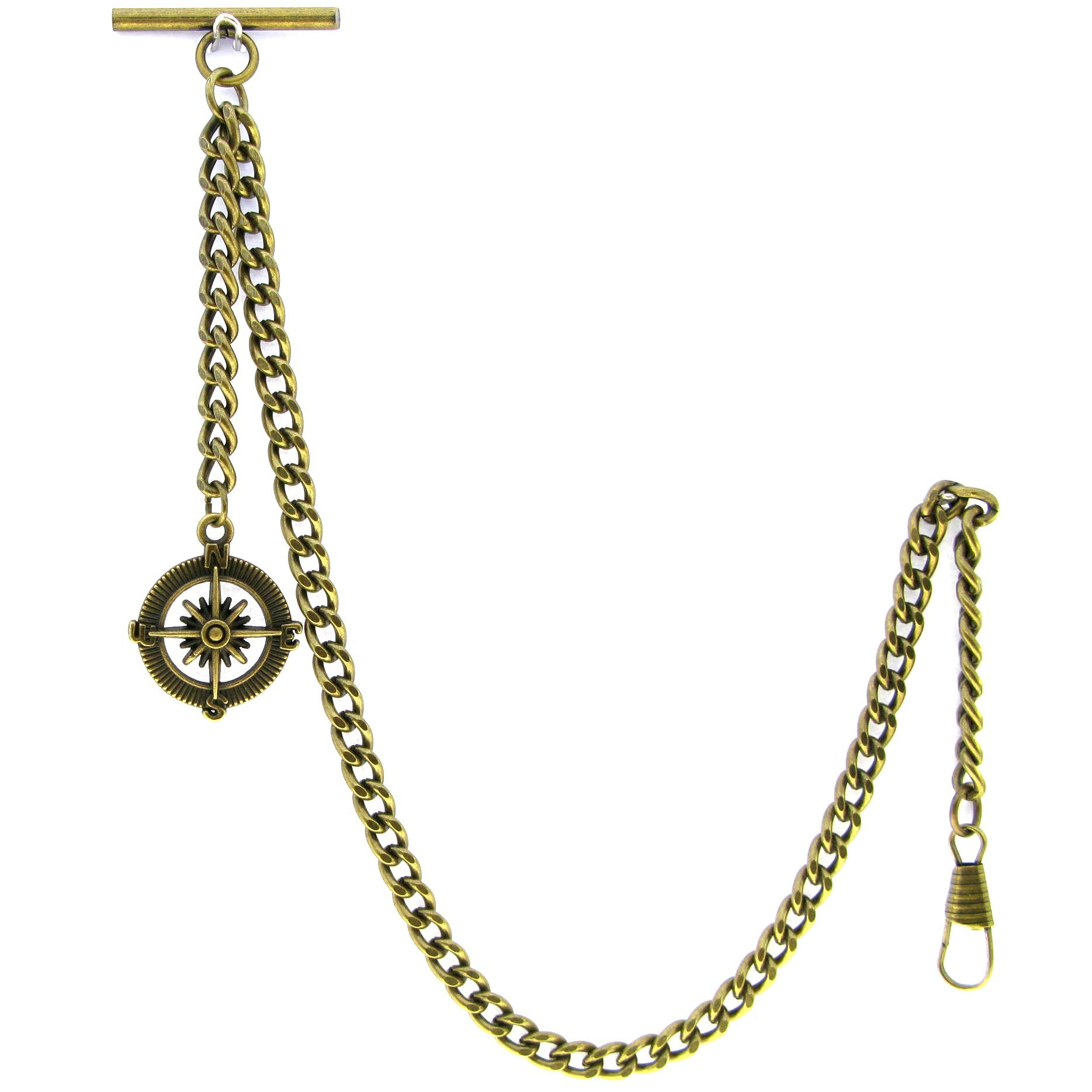 Albert Chain Pocket Watch Curb Link Chain Antique Brass Plating Fob T Bar AC09