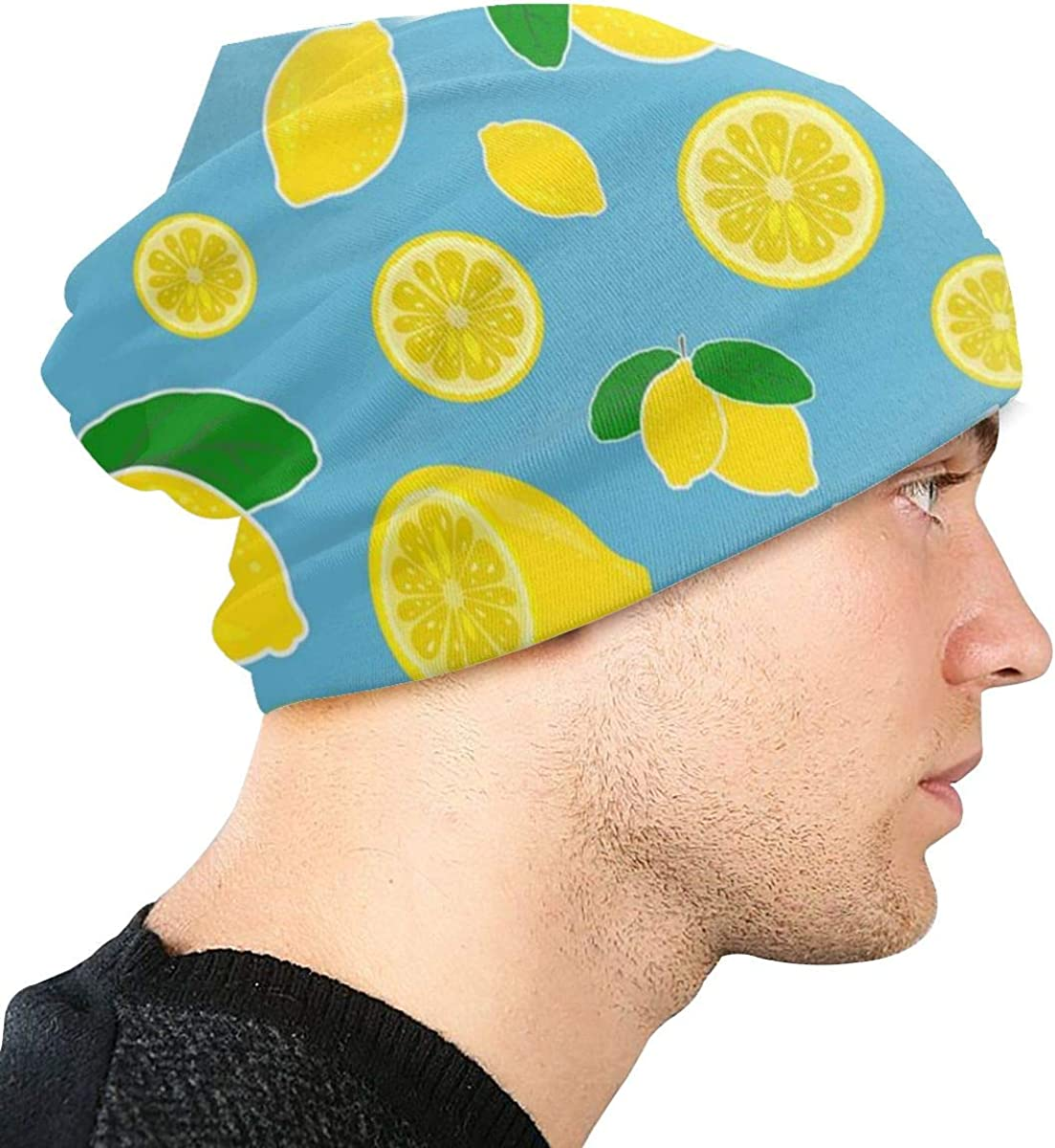 HHTZTCL Lemon Pattern Mens Womens Winter Beanies Knit Hat Stretch Skull Cap