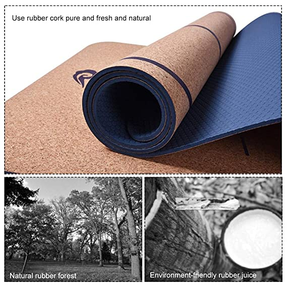 starter Yoga Mat, SBS Natural Cork Rubber Yoga Mat Unscented High Resilience Print Body Line 183cm65cm6mm Yoga Mat