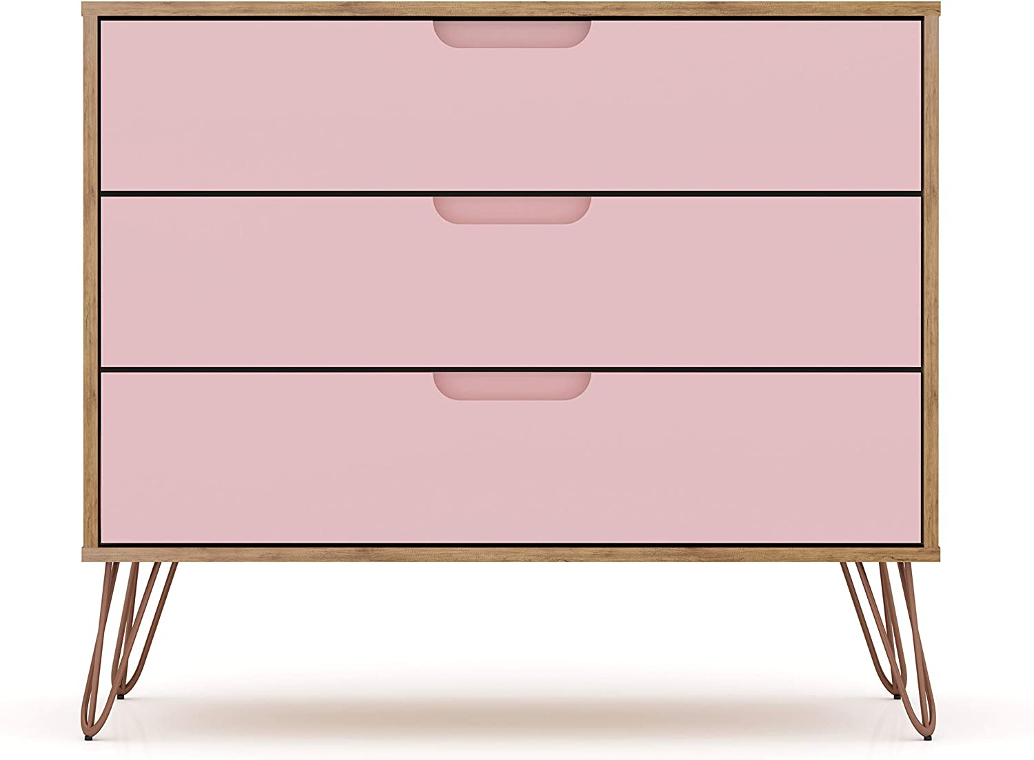 "Manhattan Comfort Rockefeller Mid-Century Modern 3 Drawer Bedroom Dresser, 35.24"", Nature/Rose Pink"