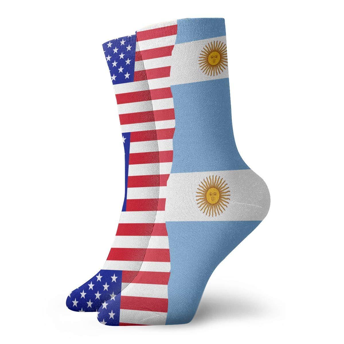 Women Men Half USA Half Argentina Flag Cushion Crew Socks