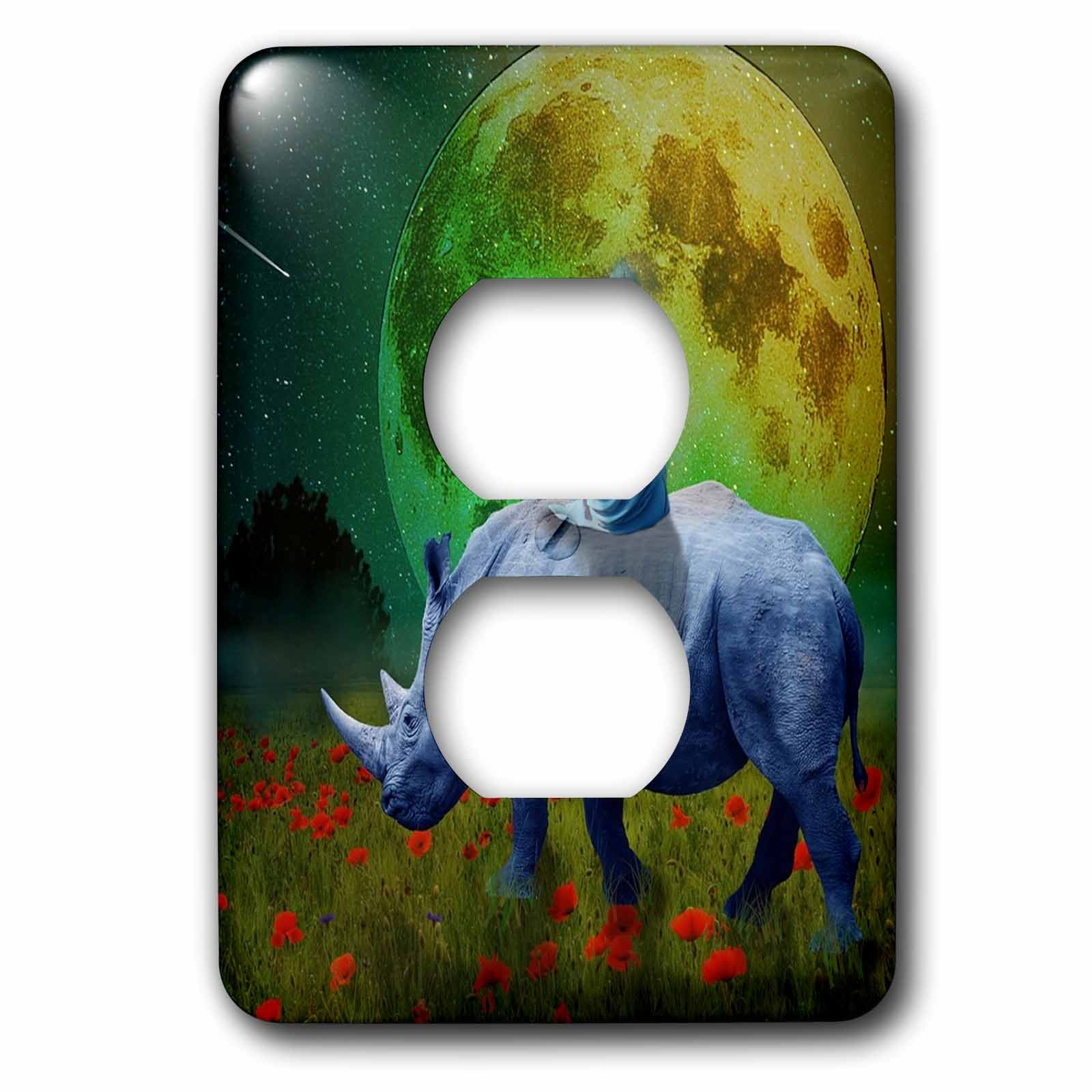 3dRose LSP_255320_6 Image of Lady On Rhino Looking at Full Moon Plug Outlet Cover,