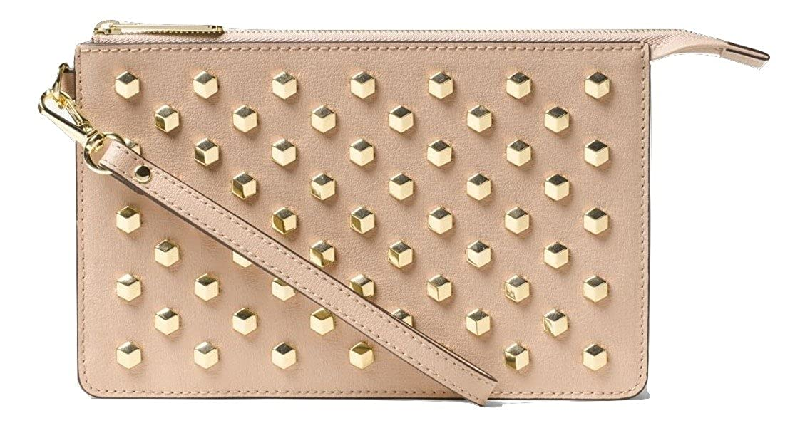 cdb3f865b680c7 Amazon.com: Michael Kors Daniela Medium Studded Leather Wristlet (Oyster):  Clothing