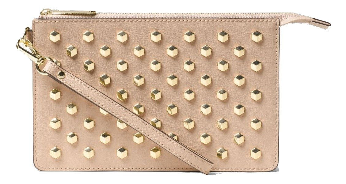 Michael Kors Daniela Medium Studded Leather Wristlet (Oyster)