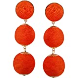 Humble Chic Women's Large Beehive Woven Dangles Round Silky Thread Ball Statement Drop Earrings