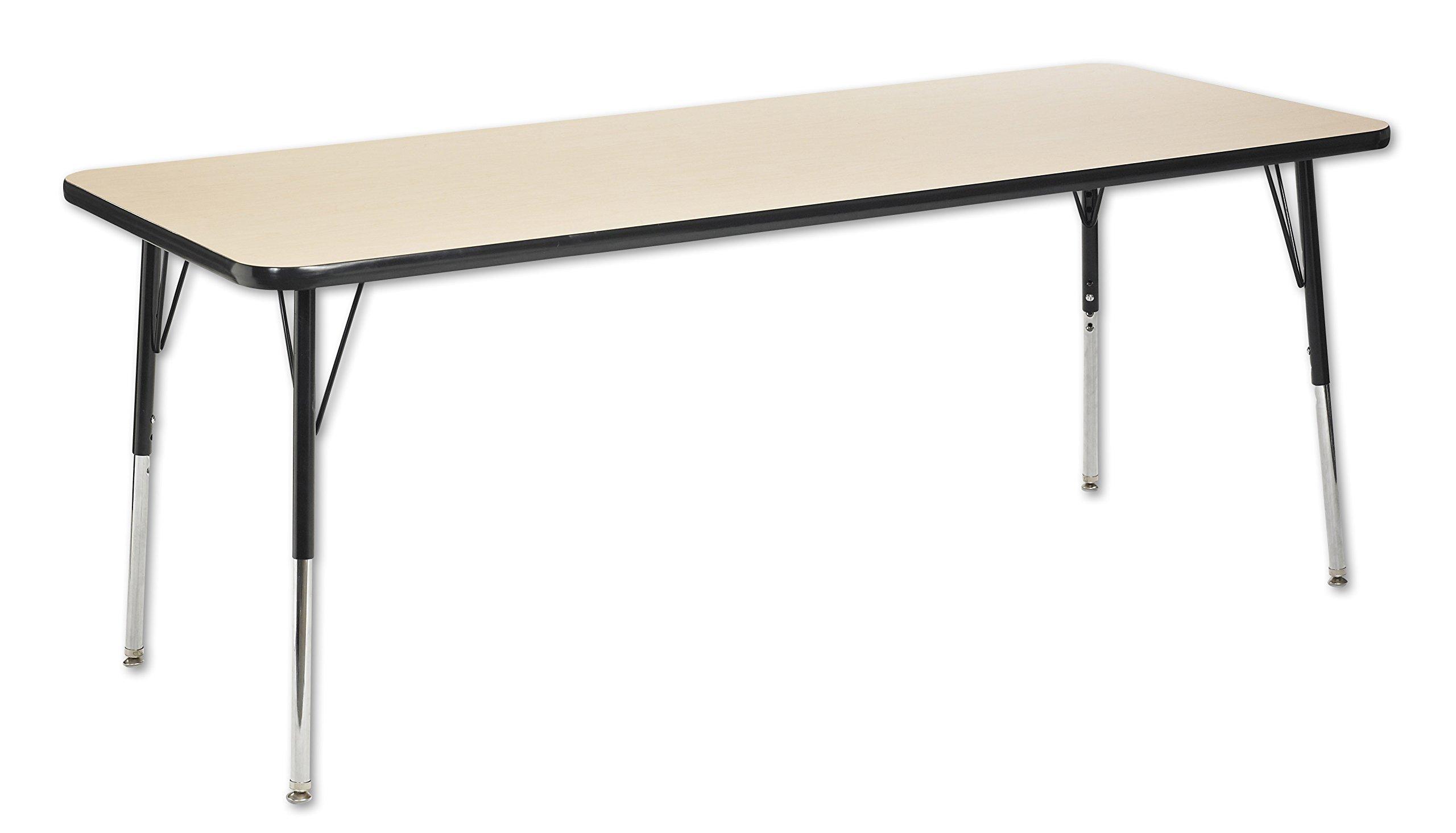 ECR4Kids T-Mold 30'' x 72'' Rectangular Activity School Table, Standard Legs w/ Swivel Glides, Adjustable Height 19-30 inch (Maple/Black)