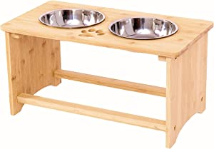 Raised Pet Bowls for Lagre Dogs, Bamboo Elevated Dog Bowls Cat Dishes for Food and Water Raised, Pet Food Stand with 2 Stainless Steel Bowls and Anti Slip Feet (Medium 10