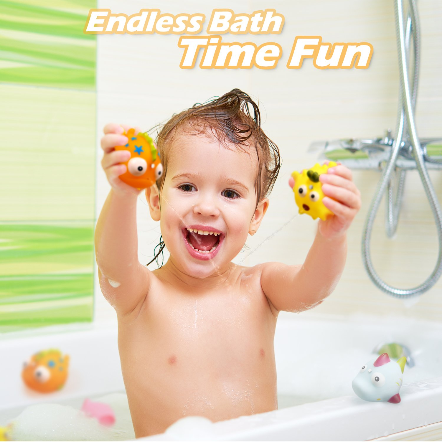 Baby Bath Time Fun Floating Fish Mini Fishing Set Bathtub