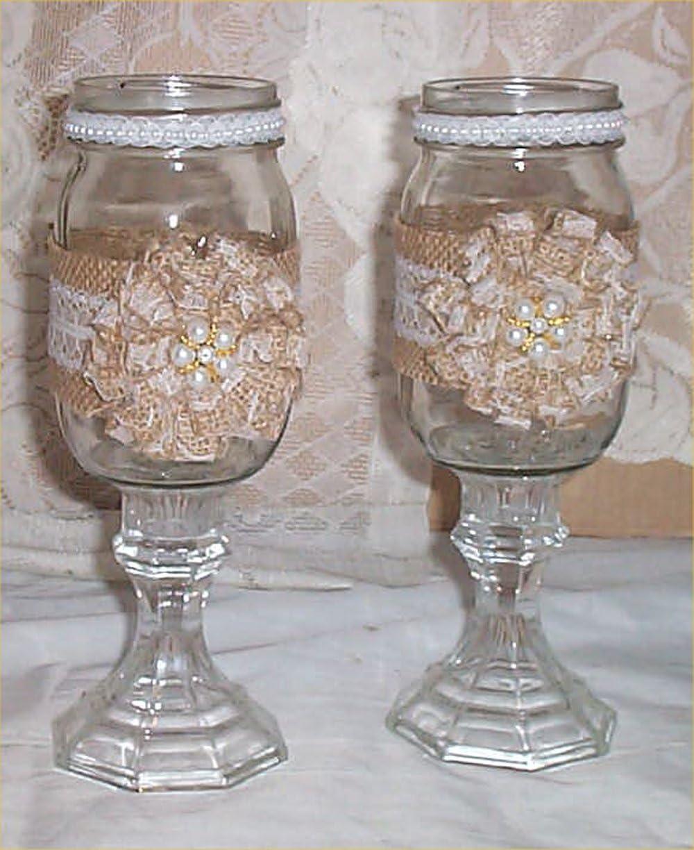 Amazon Com Bride Groom Burlap Mason Jar Pearls Toasting Mug Pedestal Mugs Lace 3 Coffee Cups Mugs