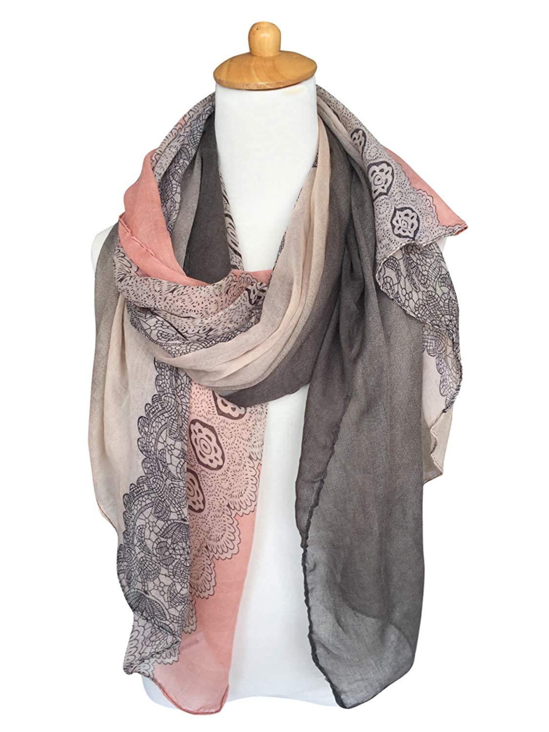 GERINLY Lightweight Scarf Fashion Lace Design Women Hijab Head Wrap Scarf  (Darkgrey Pink) at Amazon Women s Clothing store  4ca7bf229
