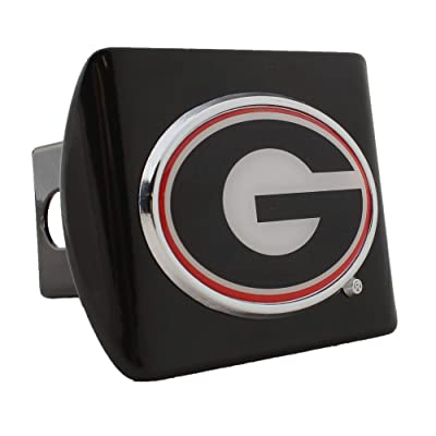 University of Georgia METAL emblem (colored and domed) on black METAL Hitch Cover: Automotive