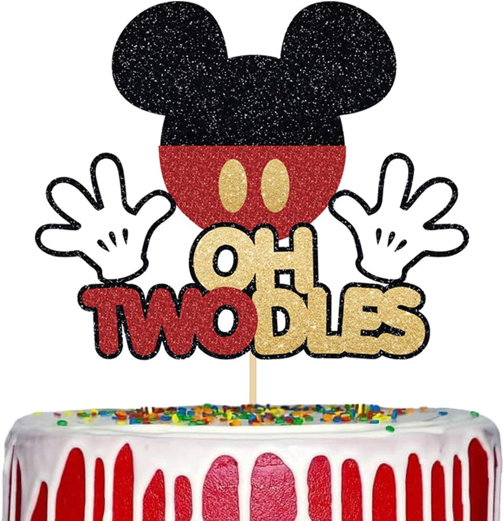 Mickey Mouse Oh Twodles Cake Topper, 2nd Birthday Cake Topper, Glitter Mickey Inspired Cake Decor Baby Second Birthday Party Supplies