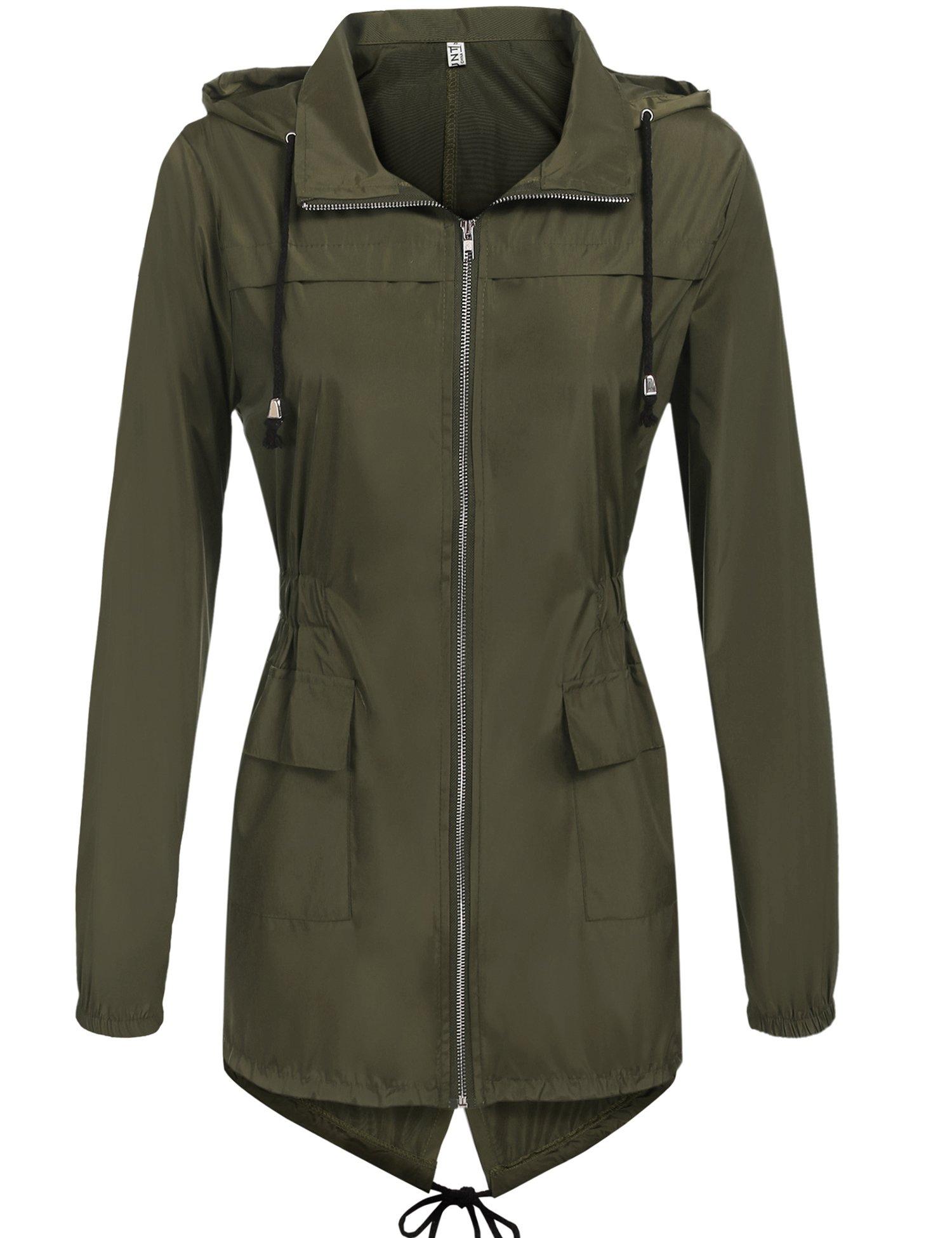 Hount Women's Lightweight Active Outdoor Waterproof Raincoat Hooded Rain Jacket (Army Green, L)