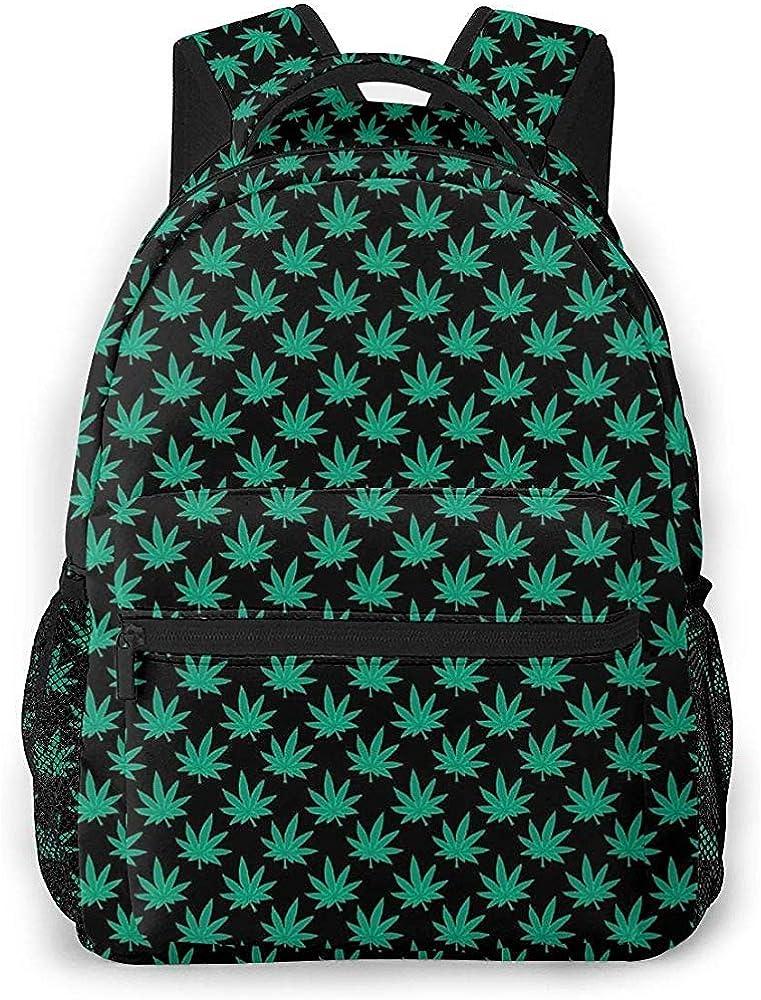 ABRAN Backpack Mochila unisex Green Cannabis Sativa Bookbag Bolsa ligera para computadora portátil para viajes escolares Camping al aire libre