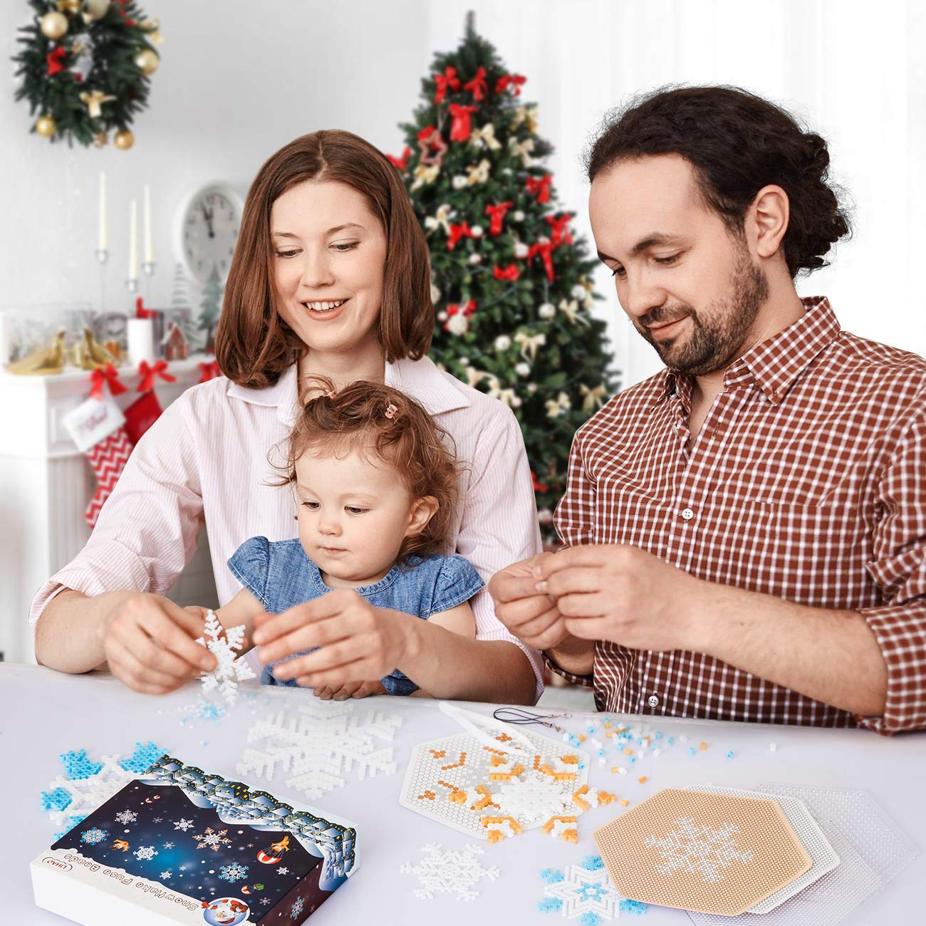 Made Snowflake Ornament Yourself Snowflakes Fuse Beads Kit Great Christmas Party Game Favor