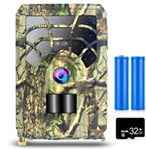 5MP 480P Trail and Game Camera Motion Activated Camera Outdoor Wildlife 46 LEDs Night Vision Camera with 32GB MicroSD Card and 2 Batteries