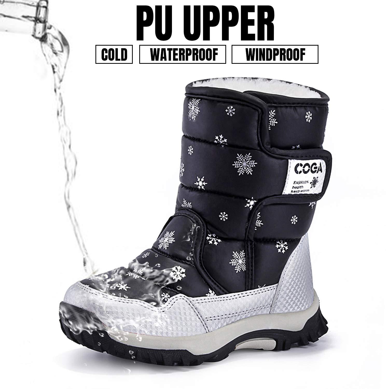 Putu Schneestiefel F/ür Kinder M/ädchen Warm Gef/üttert Boots Winterschuhe rutschfeste Wasserdicht Winter Stiefel /…