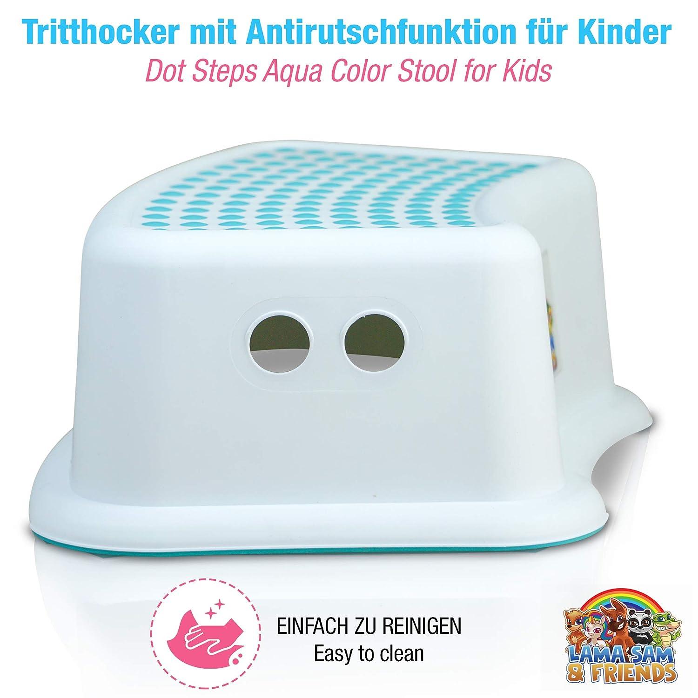 18Monaten mit Anti-Rutsch-Funktion in Farbe Lama Sam /& Friends Aqua Einstufiger Tritthocker f/ür Kinder ab ca