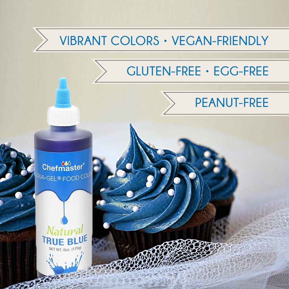 Chefmaster Natural Food Coloring for Decorating, Airbrush Cake Food Color, True Blue All Natural Food Coloring, 7 oz. Natural Coloring for Whipped Icing & Fondant, Gluten-Free All Natural Food Color by Chefmaster (Image #3)