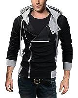 Minetom Zip Manteau Blouson avec Capuche Homme Mince Top Coat Veste Cosplay Costume À Capuche ( Noir FR 38 )